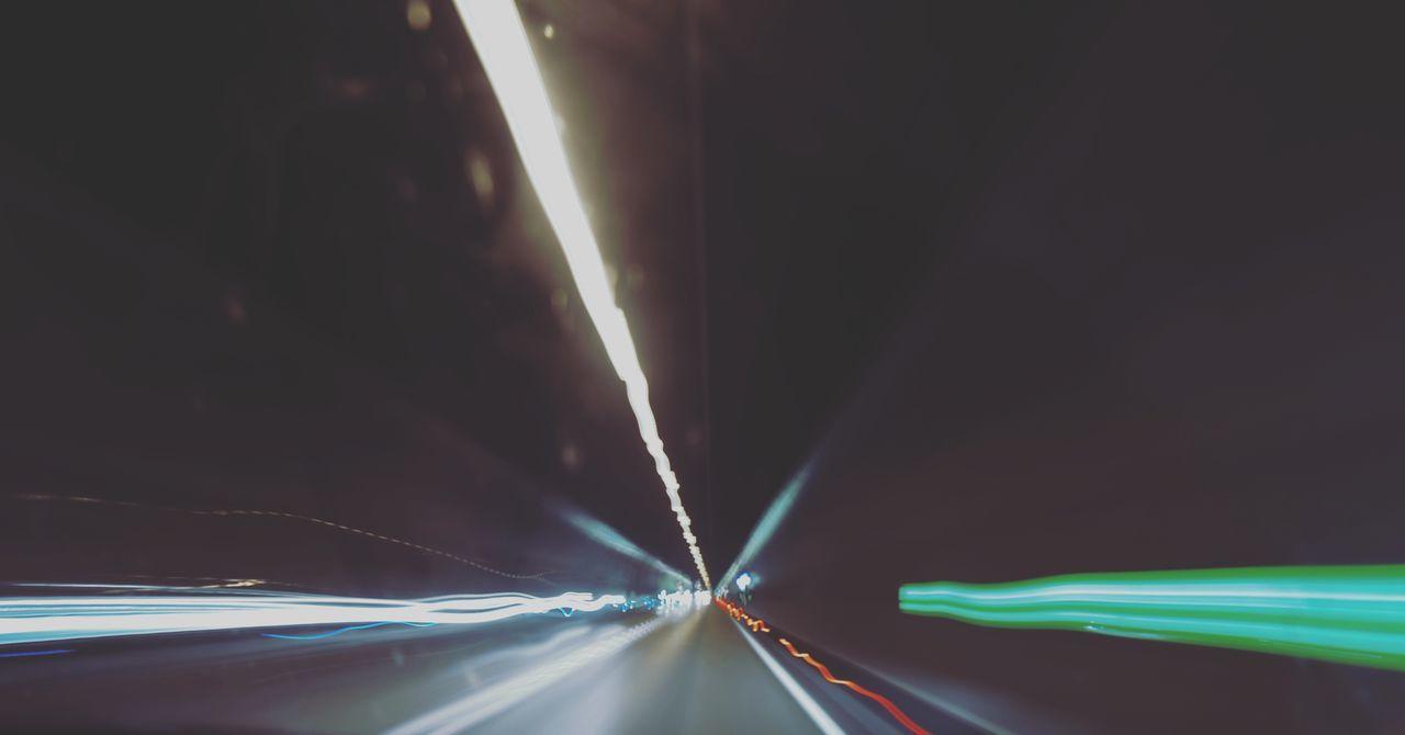 light trail, speed, illuminated, long exposure, motion, transportation, no people, road, night, outdoors, close-up, sky