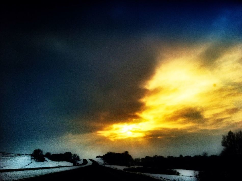 Iowa winter roadway - my daily commute to work