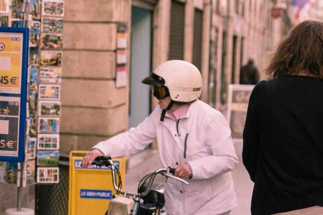 Casual Clothing City Dijon Helmet Incidental People Leisure Activity Lifestyles Motorcycle Older Woman Pilotglasses Street Street Photographer - 2016 EyeEm Awards