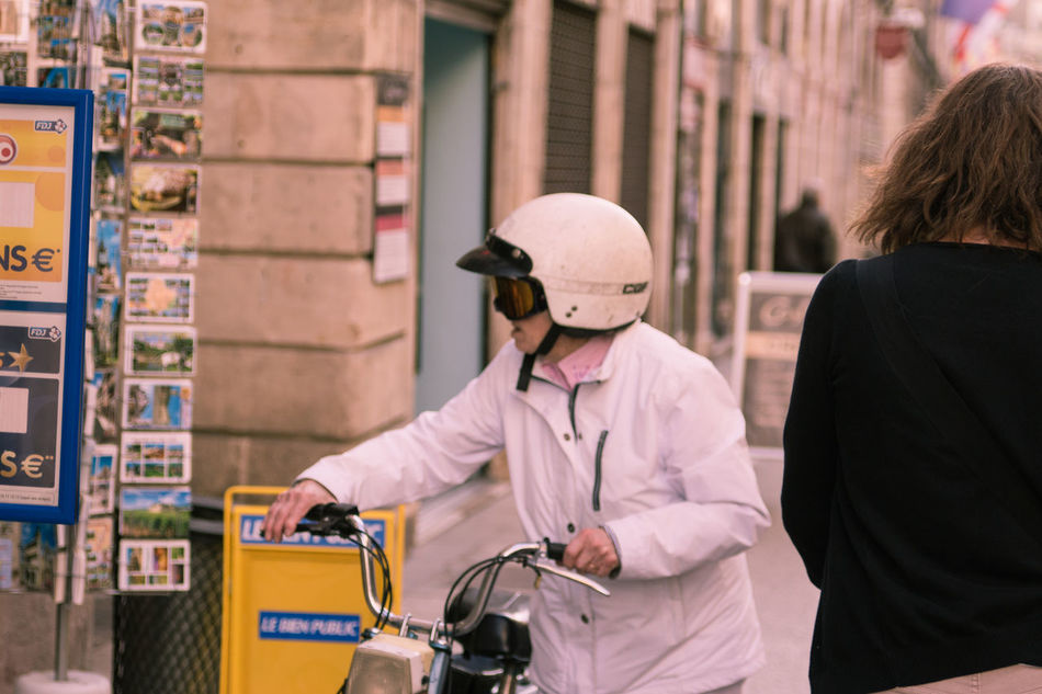 Casual Clothing City Dijon Helmet Incidental People Leisure Activity Lifestyles Motorcycle Older Woman Pilotglasses Street Street Photographer - 2016 EyeEm Awards