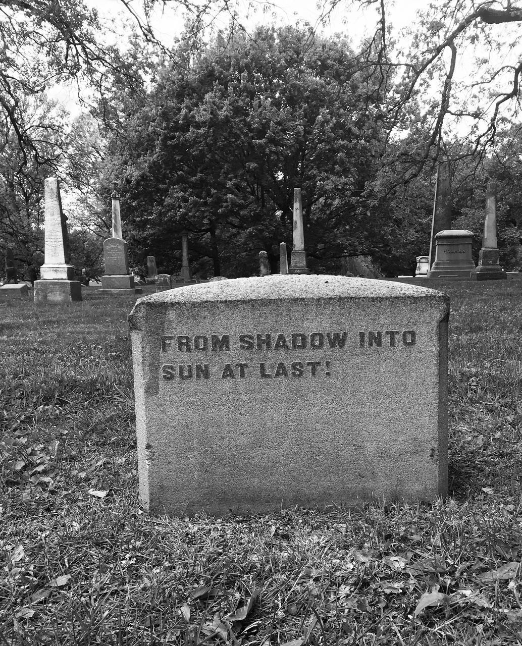 tombstone, cemetery, tree, text, memorial, grave, day, graveyard, outdoors, grass, gravestone, communication, no people, nature, sky