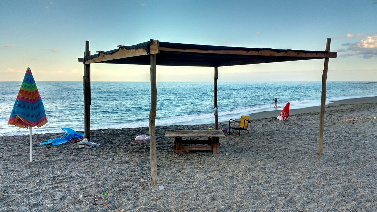 Africo, Italy. Beach Sea Water Horizon Over Water Clear Sky Tranquility Tranquil Scene Scenics Non-urban Scene Nature Solitude Vacations Blue Sky Idyllic Seascape Beauty In Nature Unbelievable Views Waterfront Coastline Cloudscape Tourism Finding New Frontiers
