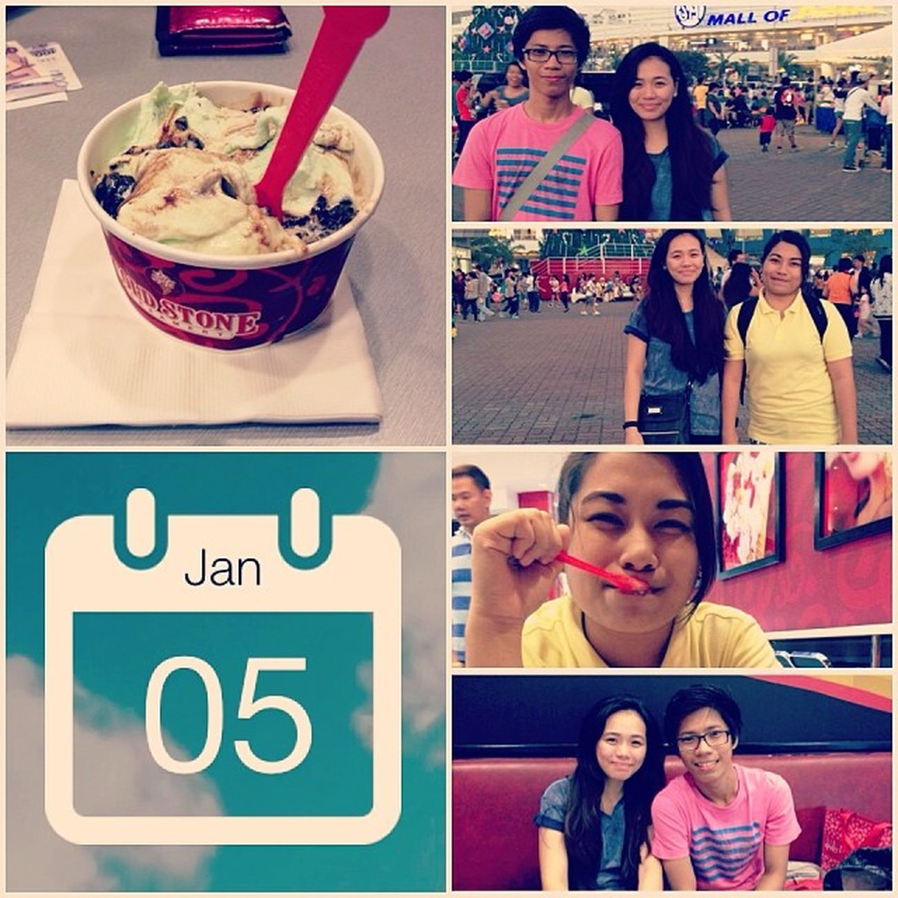 A busy sunday turns into a cheat day ! Coldstone Icecream Firstsundayof2014 Bonding friends MOA InstaMag-MobileApp @fotorus_official