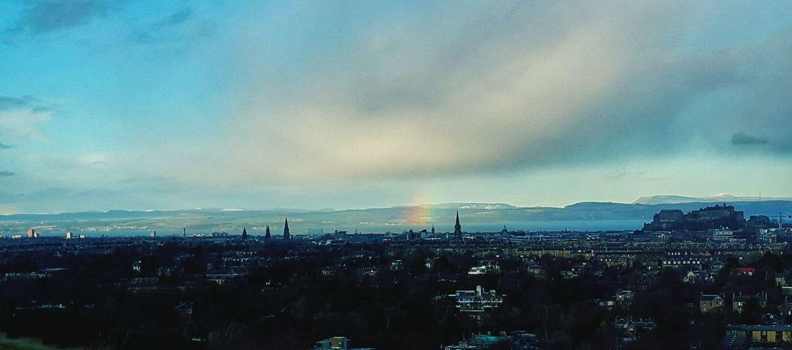 Nature Edinburgh Walking Around Colorful Urban Landscape Fields Winter Rainbow