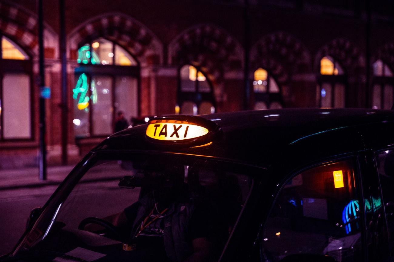 London Taxi Car City Dark Illuminated London Night Street Taxi Transportation Travel