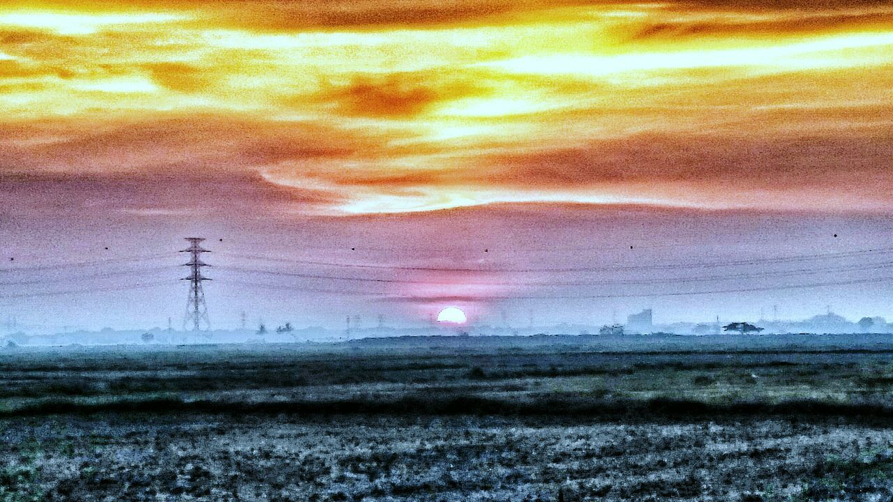 electricity, electricity pylon, fuel and power generation, power supply, power line, sky, cable, connection, technology, landscape, field, nature, sunset, no people, scenics, tranquil scene, tranquility, cloud - sky, beauty in nature, outdoors, day