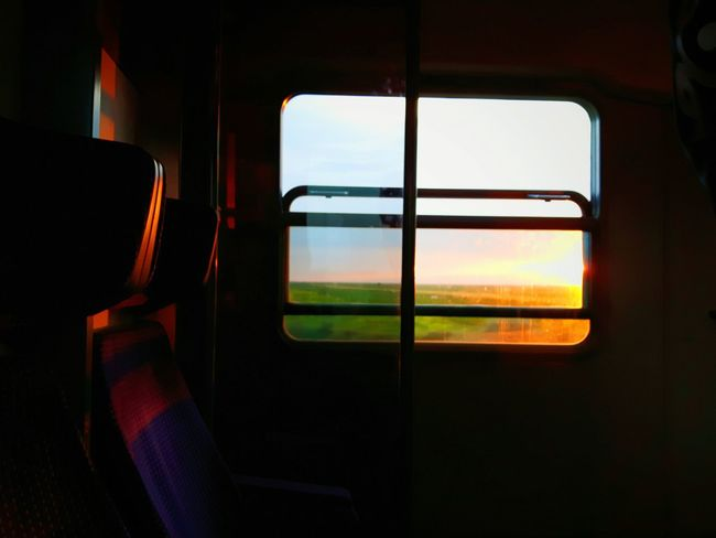 The Journey Is The Destination Traveling On The Road Train Sunset Warmth Empty Seat Window View On The Way Adventure Club