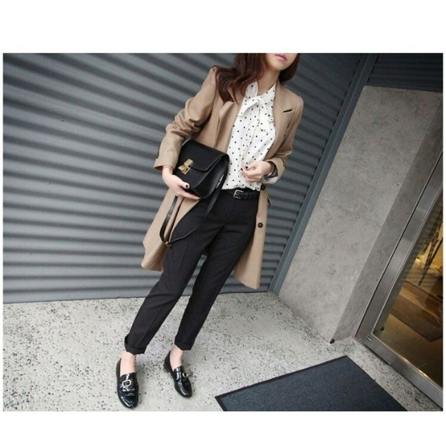 - Nice pic ✌? Jacket Monday Slacks Celine loafer dots blouse look newin fashion spring