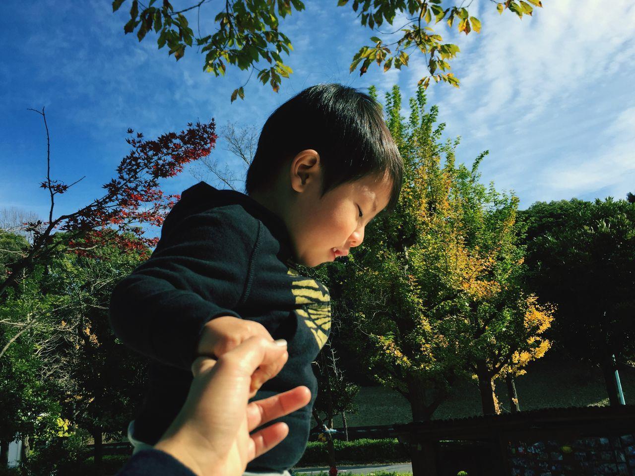 暖かい日のひとコマ POV Kids Tree And Sky Mama Connection