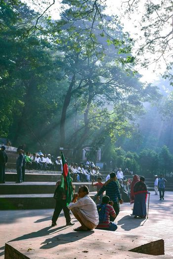 Morning of Chittagong Fog Chittagong Streetstyle BeautifulBANGLADESH Beautifuldestination Morning Light Winter Green Park People Tree Medium Group Of People Sitting Outdoors Day People Adult Nature Sky EyeEmNewHere Shades Of Winter