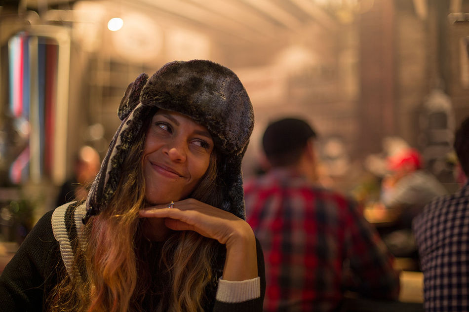Adult Adults Only Close-up Focus On Foreground Front View Happiness Incidental People Indoors  Leisure Activity Lifestyles Long Hair Looking At Camera Night One Person People Portrait Real People Smiling Warm Clothing Young Adult Young Women