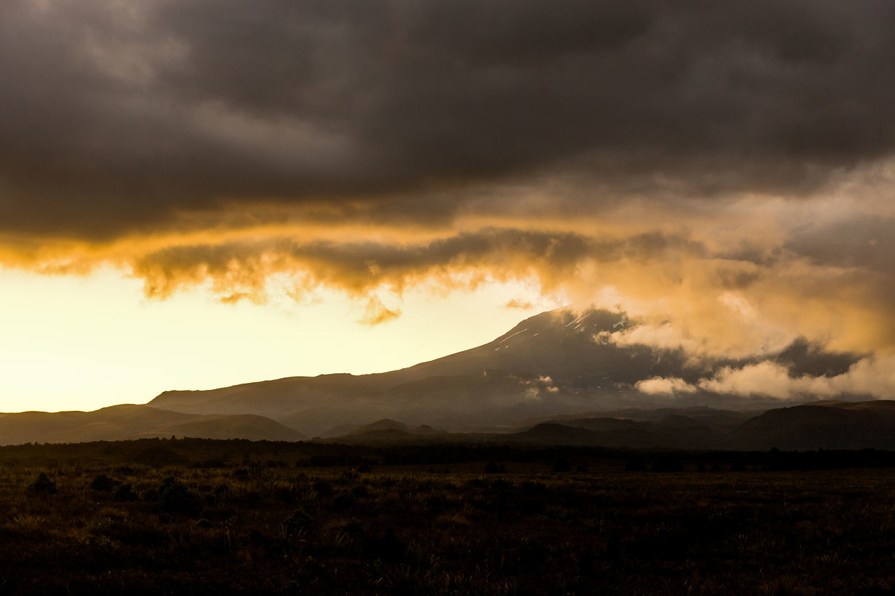 Dark Clouds Ruapehu Tongariro National Park Beauty In Nature Cloud - Sky Day Dramatic Sky Golden Sky Landscape Mountain Mountain Range Nature New Zealand No People Outdoors Scenics Silhouette Sky Storm Cloud Sunset Tranquil Scene Tranquility