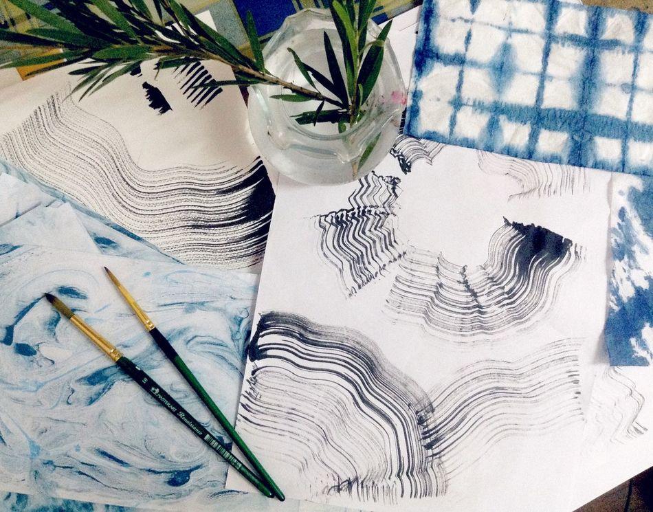 Art ArtWork Shibori Abstract Plant Indigo Blue Black Black And White Design Top View Lifestyles Life HobbitArt And Craft