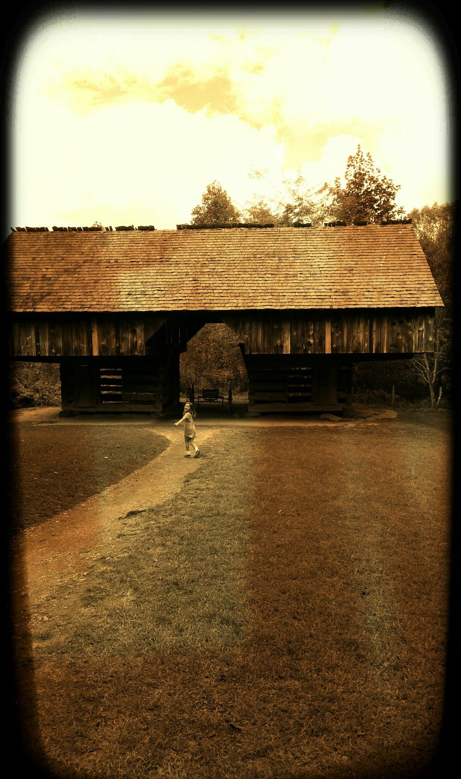 Let Them Be Little Tn National Park Barn Stall Brown Big Smile Girl Exploring Child Making Memories Roof Trail Big World, Little People Old Buildings Wood Structure