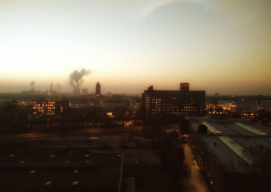 Maschinenstadt. Sunset Industry Architecture Sky Smoke Cityscape Siemenswerke