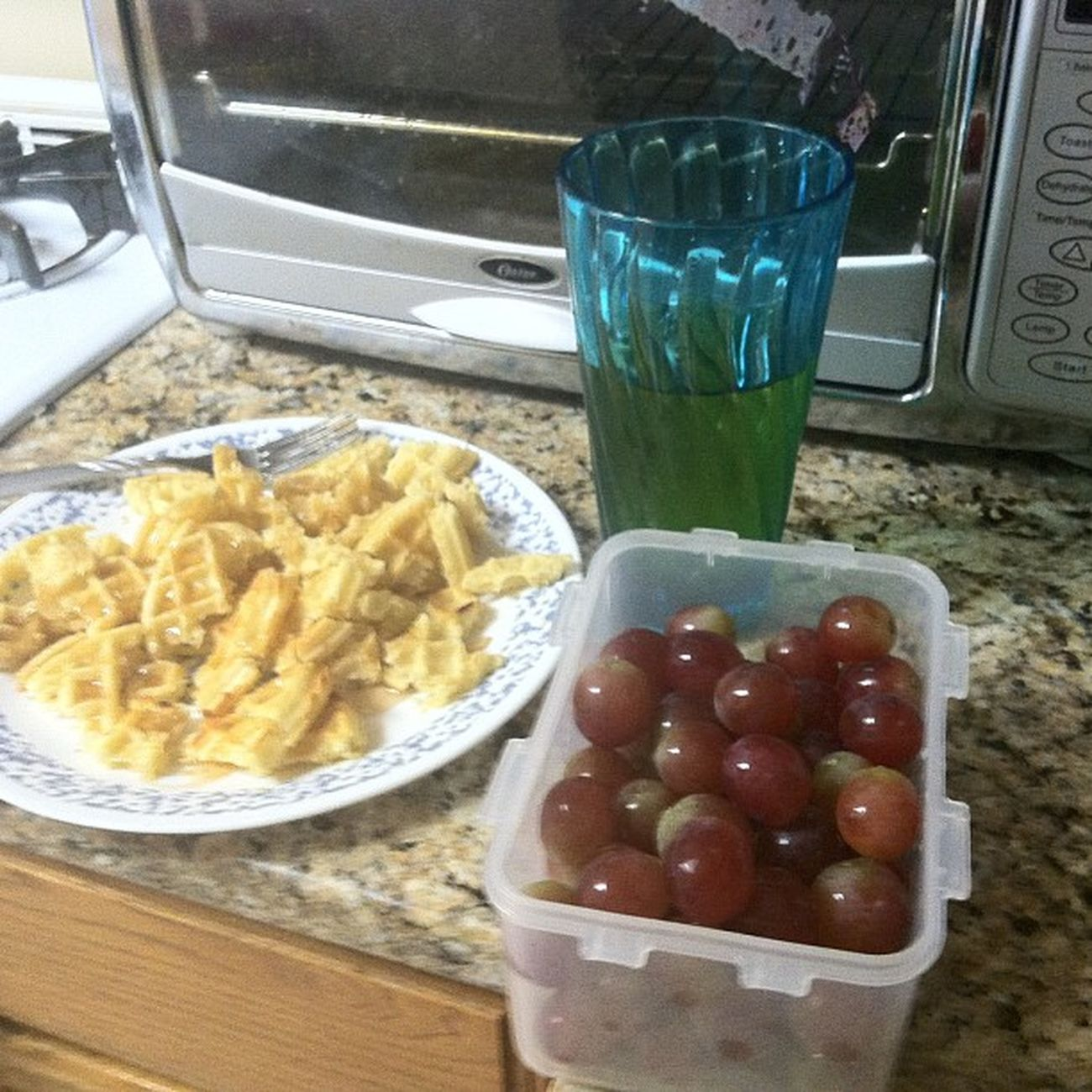 Breakfast of champions Stonershit Waffles Grapes Applejuice Gethigher Morningmunchies