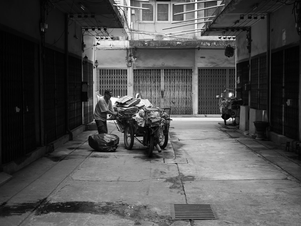 Adult Asian  Life Man Monochrome Motorcycle Old Packing Ride