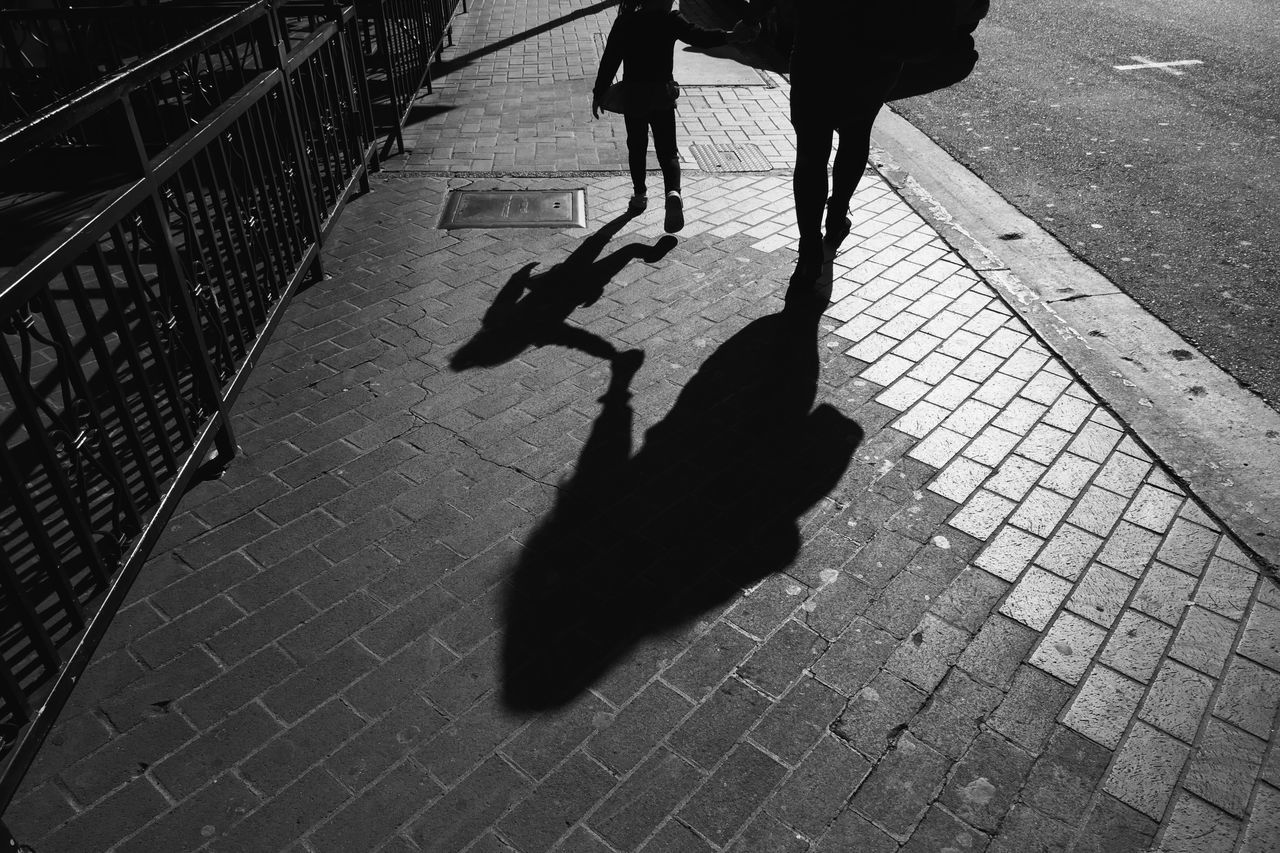 Shadow Real People Sunlight Walking High Angle View Lifestyles Day Focus On Shadow Outdoors Child Low Section Two People Women Dog Human Leg Togetherness Mammal