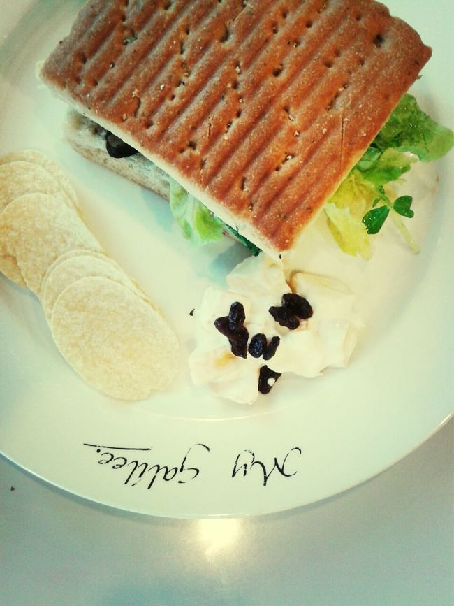 with my friend (cheese mushroom sandwish) Lunch Cafe Sandwish Enjoying Life