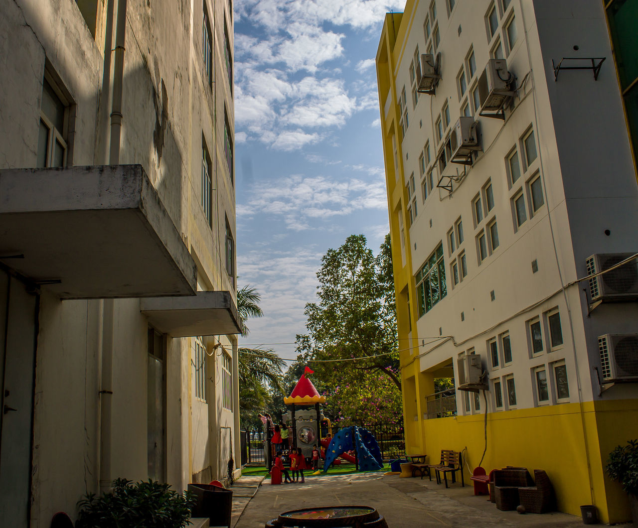 Architecture Building Exterior Built Structure China School City Cloudy Day Day No People Outdoors Playground Equipment School Sky Two Buildings Zhuhai