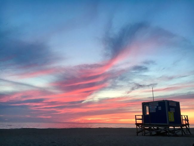 Sunset Sunset Sky Cloud - Sky Lifeguard Hut Scenics Nature Beauty In Nature Beach Tranquility Sea Lifeguard  Outdoors Silhouette No People Water Day