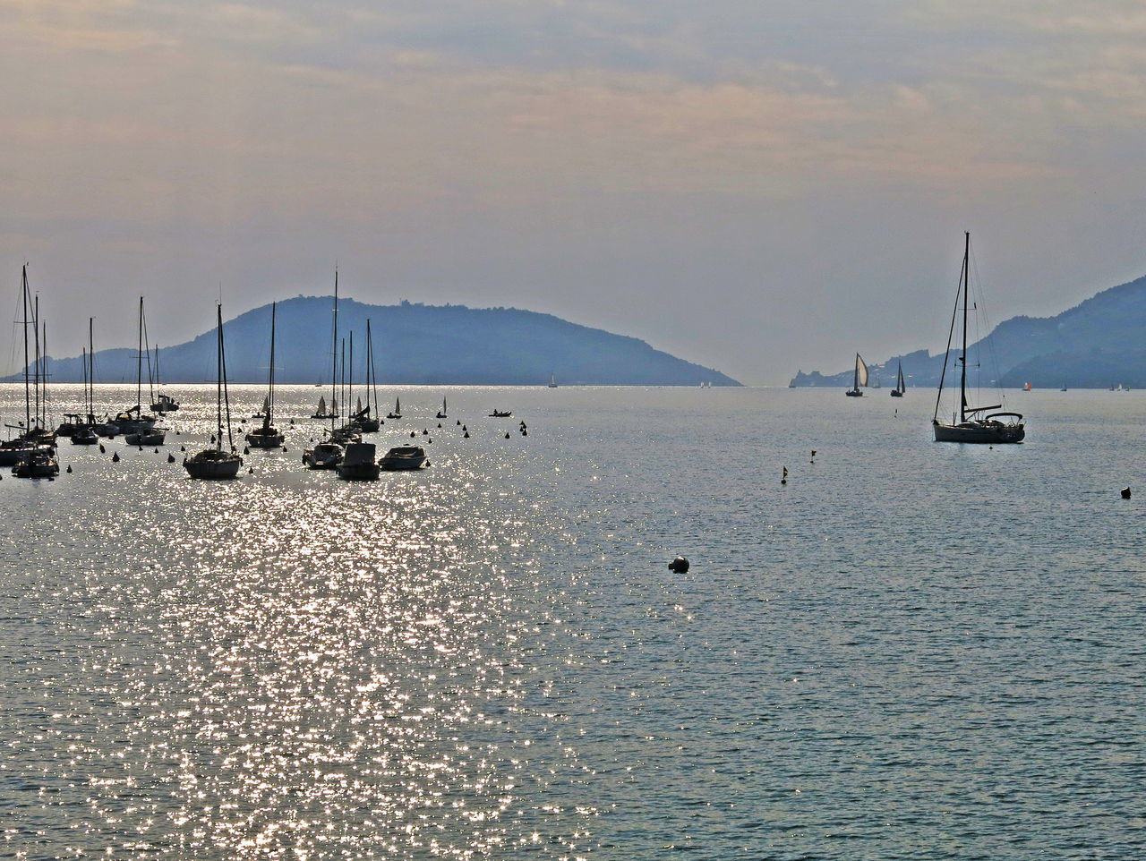 Beauty In Nature Boat Boats Boats⛵️ Calm Horizon Horizon Over Water Lerici Lights On Water Liguria,Italy Ligurian Coast. Portovenere Sea Sky Sunset Tranquil Scene Tranquility Waterfront