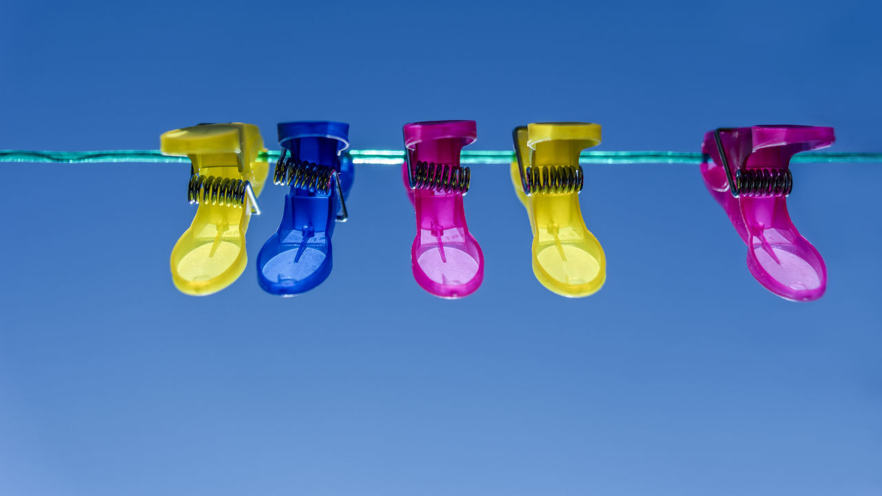 primary colours Basic Colours Blue Blue Sky Clothes Pegs Clothesline Clothespins Cyan LINE Magenta Red Yellow