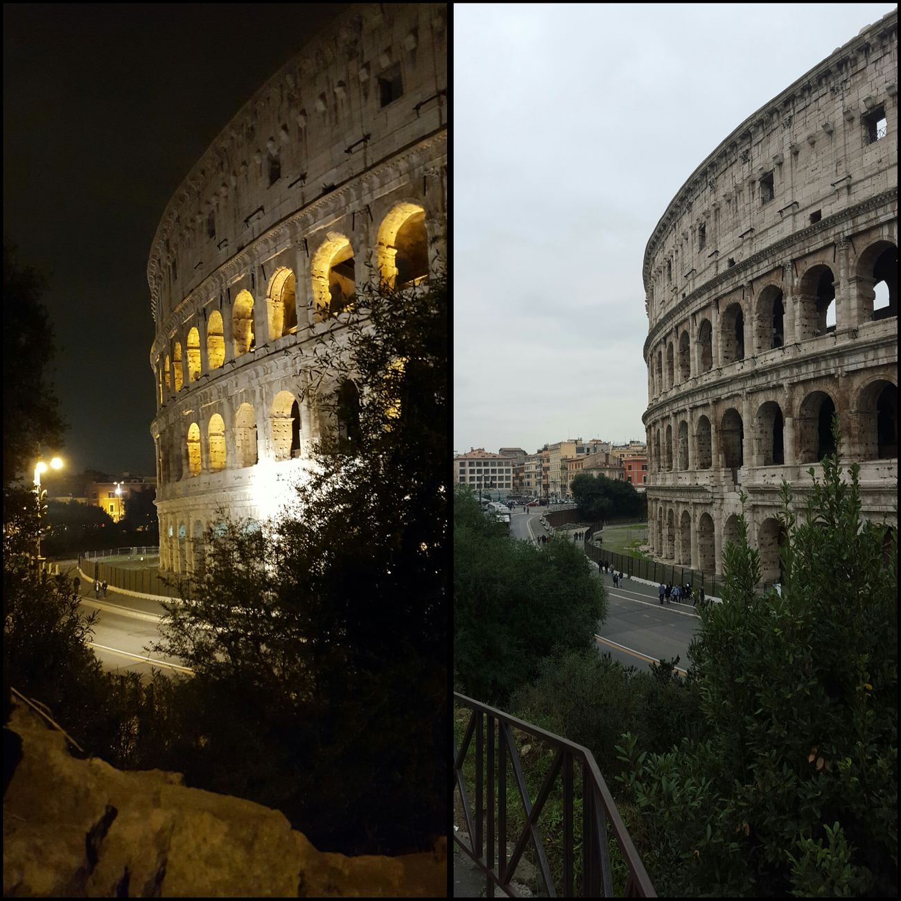 Colosseum Dayandnight Rome Italy Vacation Holiday