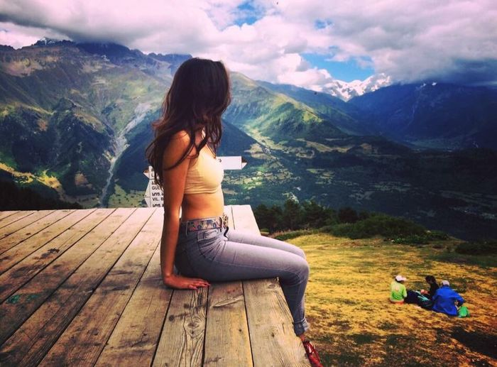 Nature Svaneti Georgia Mestia Hiking Photography Mountains Harmony Fresh And Clean Air Sky Clouds Heaven Happy Freedom Girl Friends Art Green Trees Love