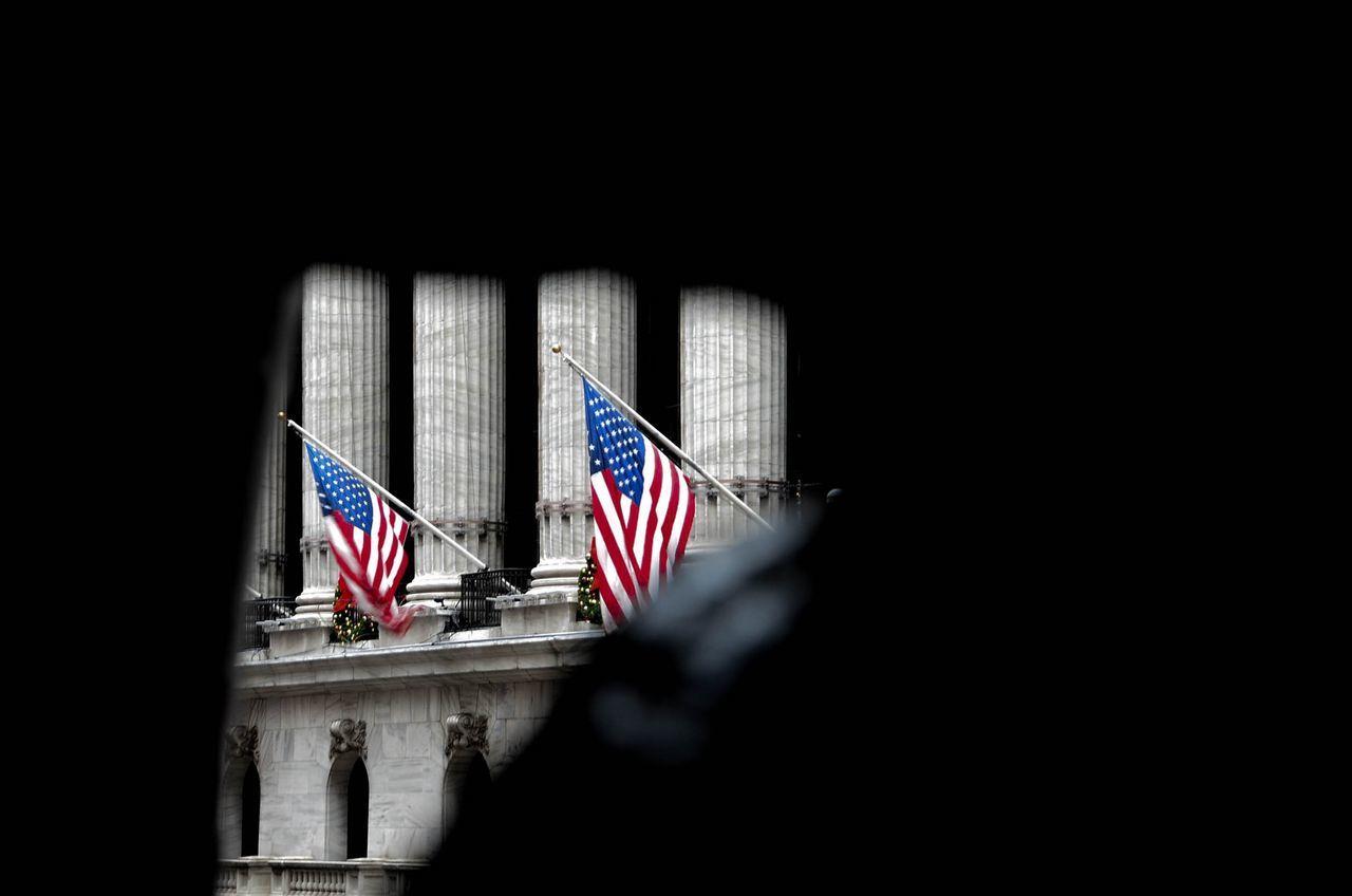 American Flags Seen Through Window