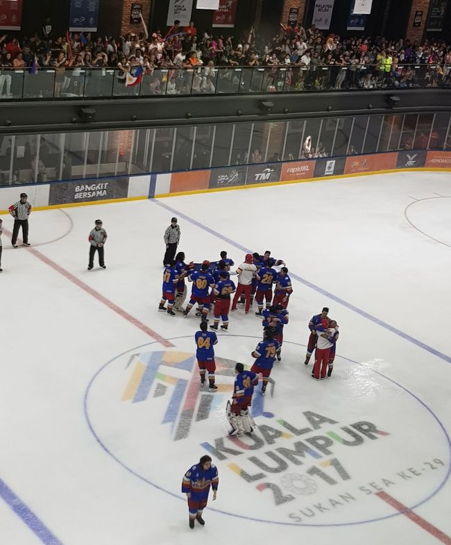 Sport Large Group Of People Ice Hockey Hockey Competition Ice Rink Athlete People Playing Sports Helmet Match - Sport High Angle View Adult Sports Team Stadium Scoring A Goal Men Sportsman Competitive Sport Seagames2017 Philippines Gold Medalist Vs Thailand 5-4