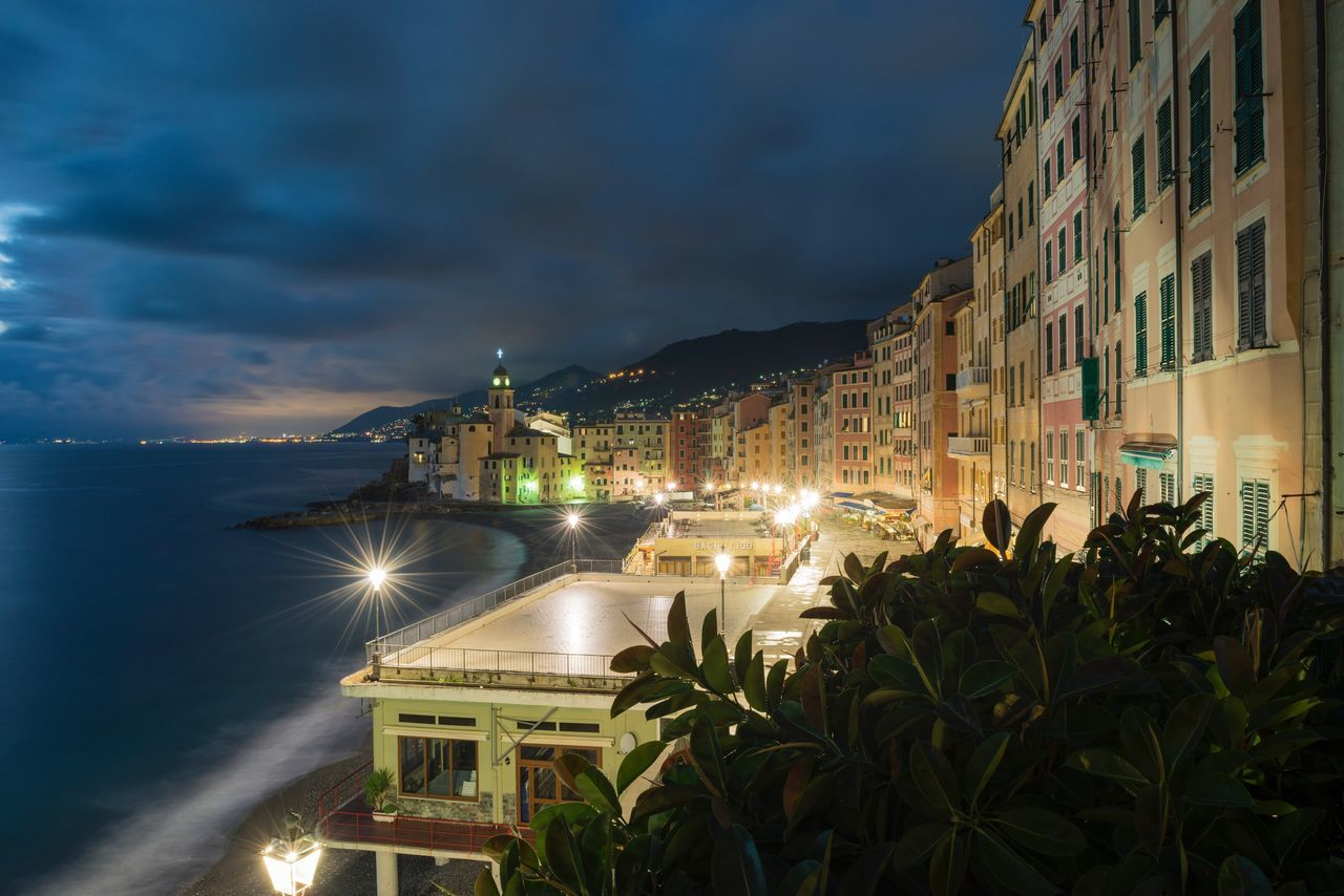 Panorama di Camogli, blue hour versione a colori Architecture Building Exterior Built Structure Sky Sea Cloud - Sky Outdoors Night Water Illuminated Nature No People Travel Destinations City Beauty In Nature Horizon Over Water Cityscape Camogli Promenade Sea Locations Travel Destinations In Italy Blue Hour Cityscape Your Ticket To Europe The Week On EyeEm