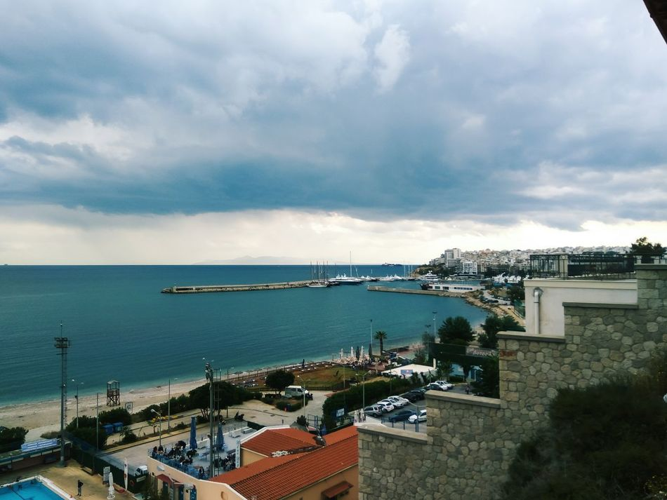 Sea Horizon Over Water Beach Cloud - Sky Outdoors Water Sky High Angle View Architecture Nautical Vessel Day Harbor Travel Destinations Built Structure Building Exterior Cityscape No People Nature Vacations Spring EyeEm Best Shots Nature_collection Nature Beauty In Nature Piraeus