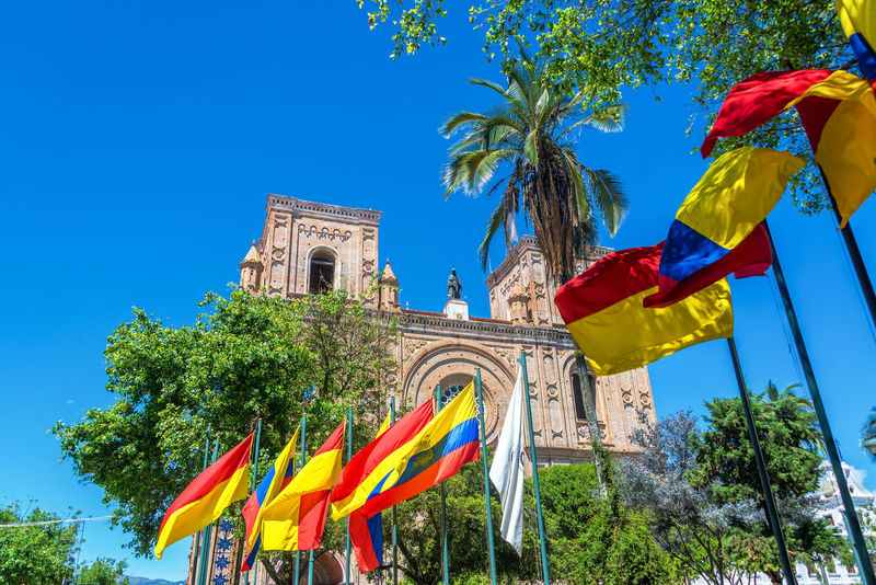 Flags waving in front of the cathedral in the historic center of Cuenca, Ecuador Architecture Blue Building Cathedral Catholic Center Church Conception Cuenca Cuenca, Ecuador Downtown Ecuador Flag Flags Inmaculada Landmark Latin New Outdoors Park ParqueCalderon Religion South America Travel Tree