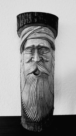 Wood Art Black & White Wooden Face Wooden Sculpure Made By Human