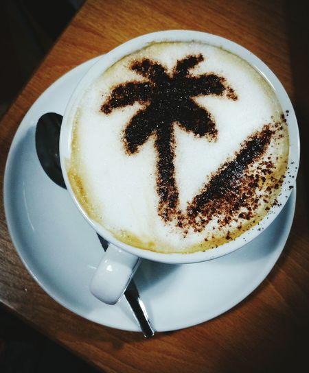 Cappuccino Coffee ☕ Oak Table.