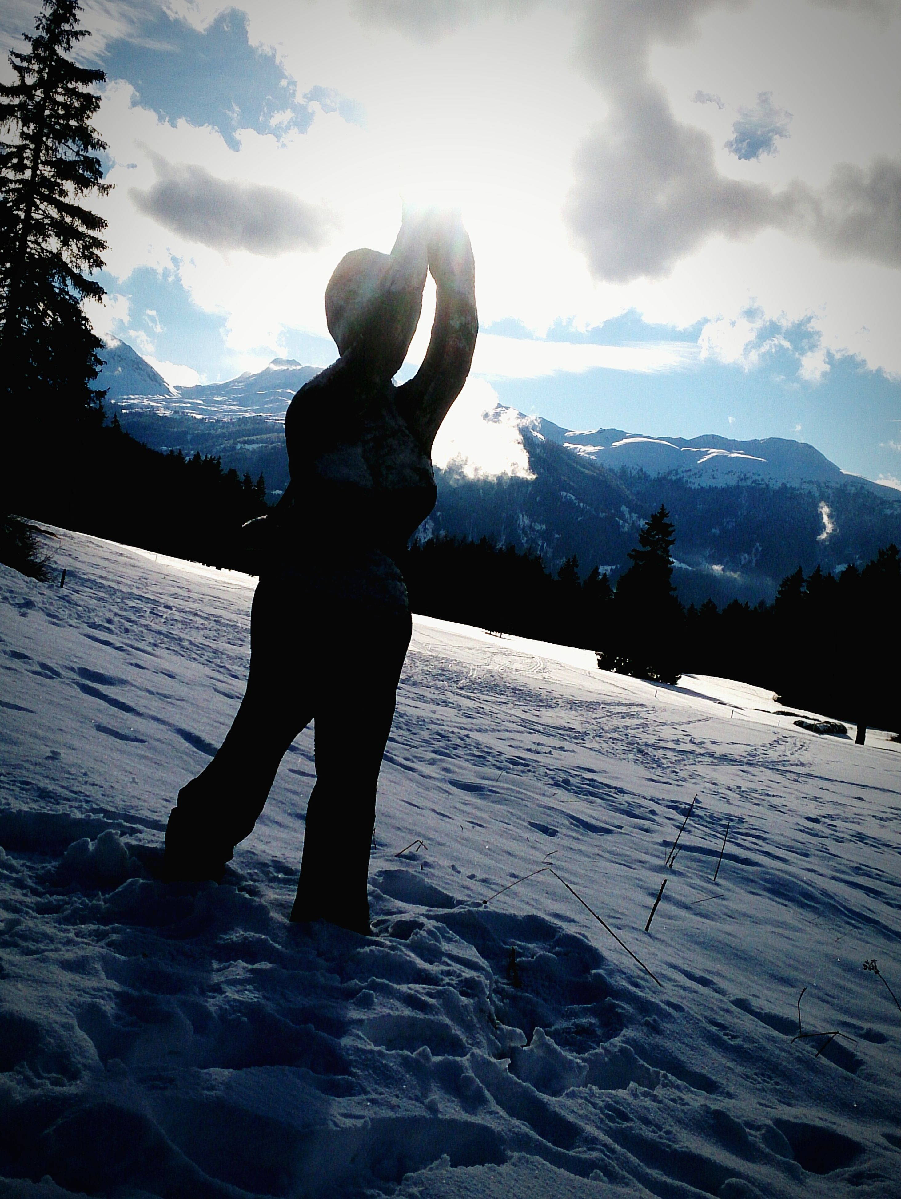 snow, winter, cold temperature, full length, season, lifestyles, leisure activity, weather, mountain, rear view, sky, warm clothing, standing, tranquil scene, tranquility, nature, beauty in nature, scenics