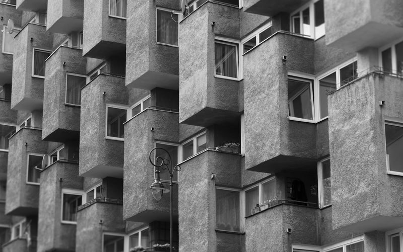 Architecture B&w Street Photography Balcony Blackandwhite Building Exterior Built Structure City Day House Low Angle View Modernism Modernizm No People Outdoors Pattern Poland Polska Residential Building Warsaw Warszawa  Window
