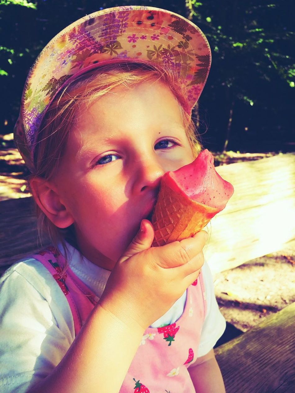 Icecream in the hands of a child Eis Icecream🍦 Summer Tasty Sweets Sugar Delicious Delicious Pink Pastel Kid Toddler  Licking Melting Enjoying