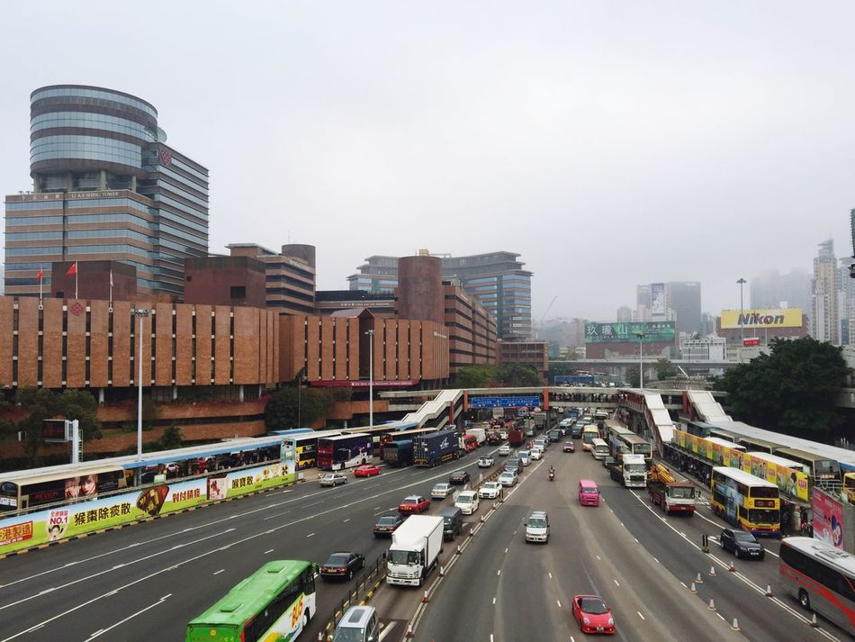 Hong Kong Hung Hom Polyu University Bridge Street Cars Bus Foggy Commuting