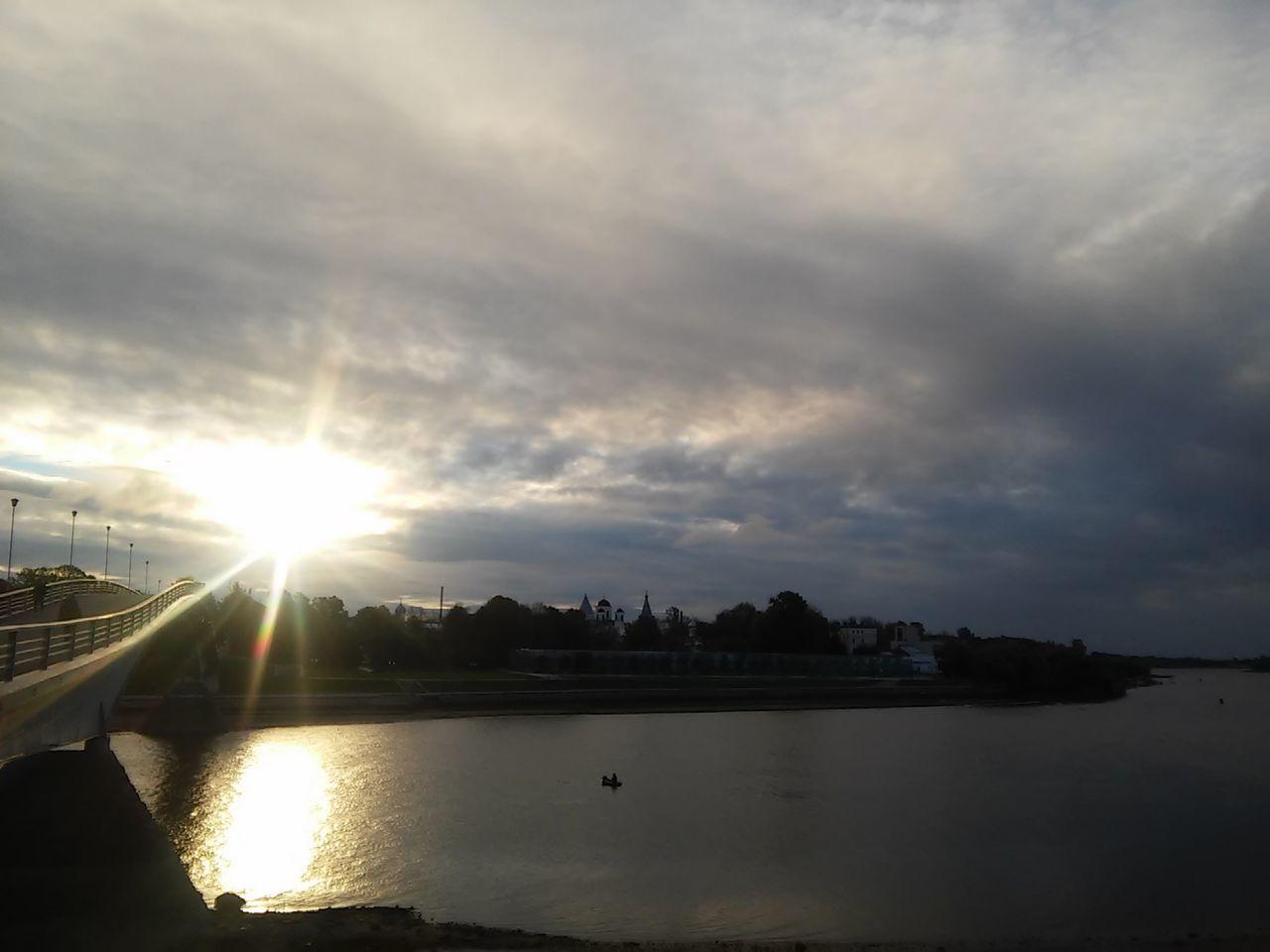 Clouds Nature Reflection River Sky Sun Velikiy Novgorod Water