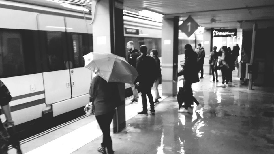 Transportation Subway Station Train - Vehicle Subway Train Men People Indoors  Public Transportation City Life Full Length Adult Commuter Walking Adults Only Motion Women Station Benalmádena, Malaga, Spain Rain Weather Black And White Photography Blackandwhite Crowd City Large Group Of People