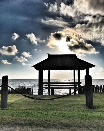 Cloud - Sky Built Structure Sea Sky Water Wood - Material Beach Pier Architecture Nature Wooden Post Outdoors Tranquility Day Gazebo Beauty In Nature Scenics Horizon Over Water Grass No People Rockport Texas Before Hurricane Harvey