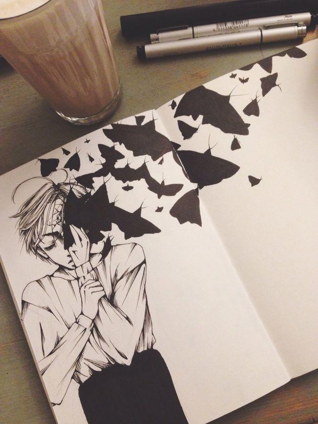 Manga Art, Drawing, Creativity Original My Art MyArt Art Blackandwhite Boy Moth