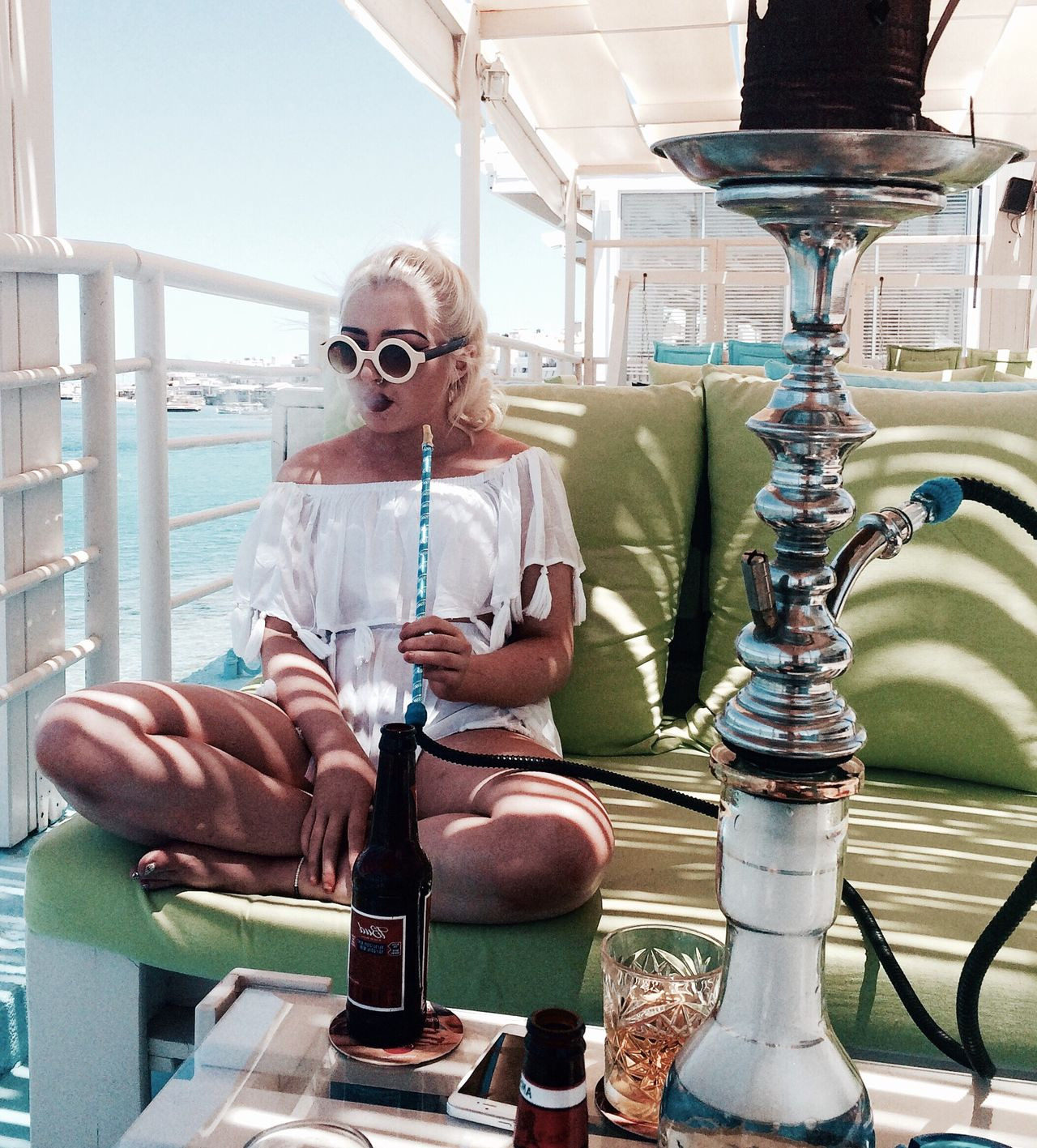 Blonde Waves Sea And Sky Ocean View Ocean Sea Girl Crete Holiday Sun Shisha Gaga Sunglasses Smoke Smoking Vape