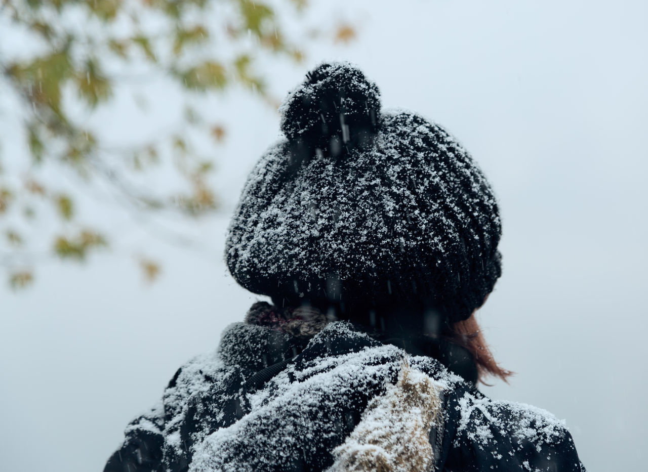 snow, cold temperature, winter, focus on foreground, day, outdoors, nature, no people, close-up, animal themes, warm clothing, mammal