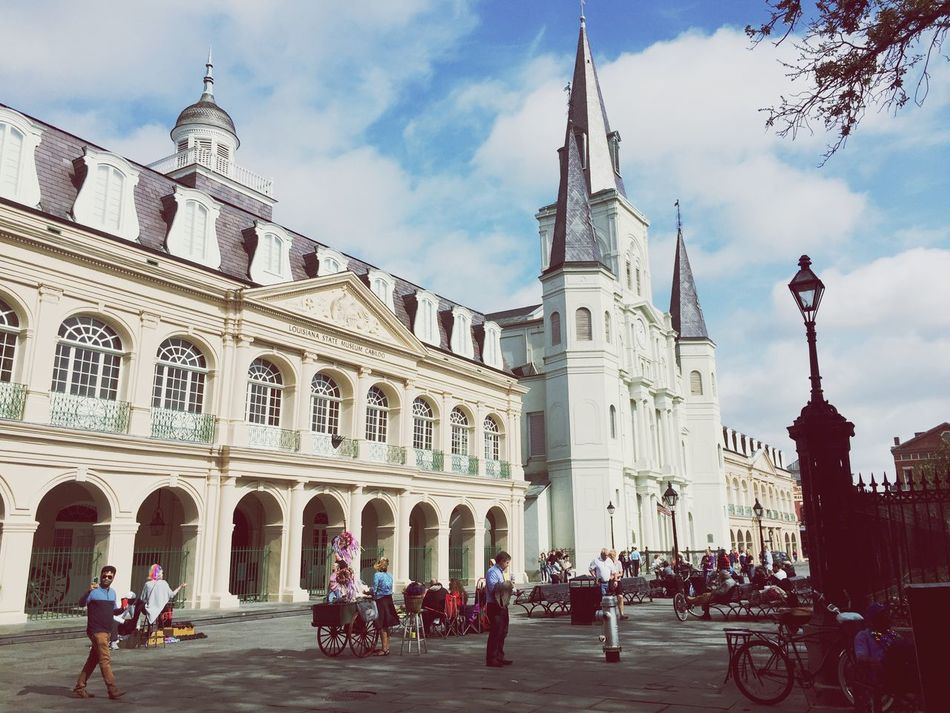 Jackson Square Building Exterior Architecture Travel Destinations Built Structure Large Group Of People Sky Travel Place Of Worship Religion Outdoors Tourism City Day Real People