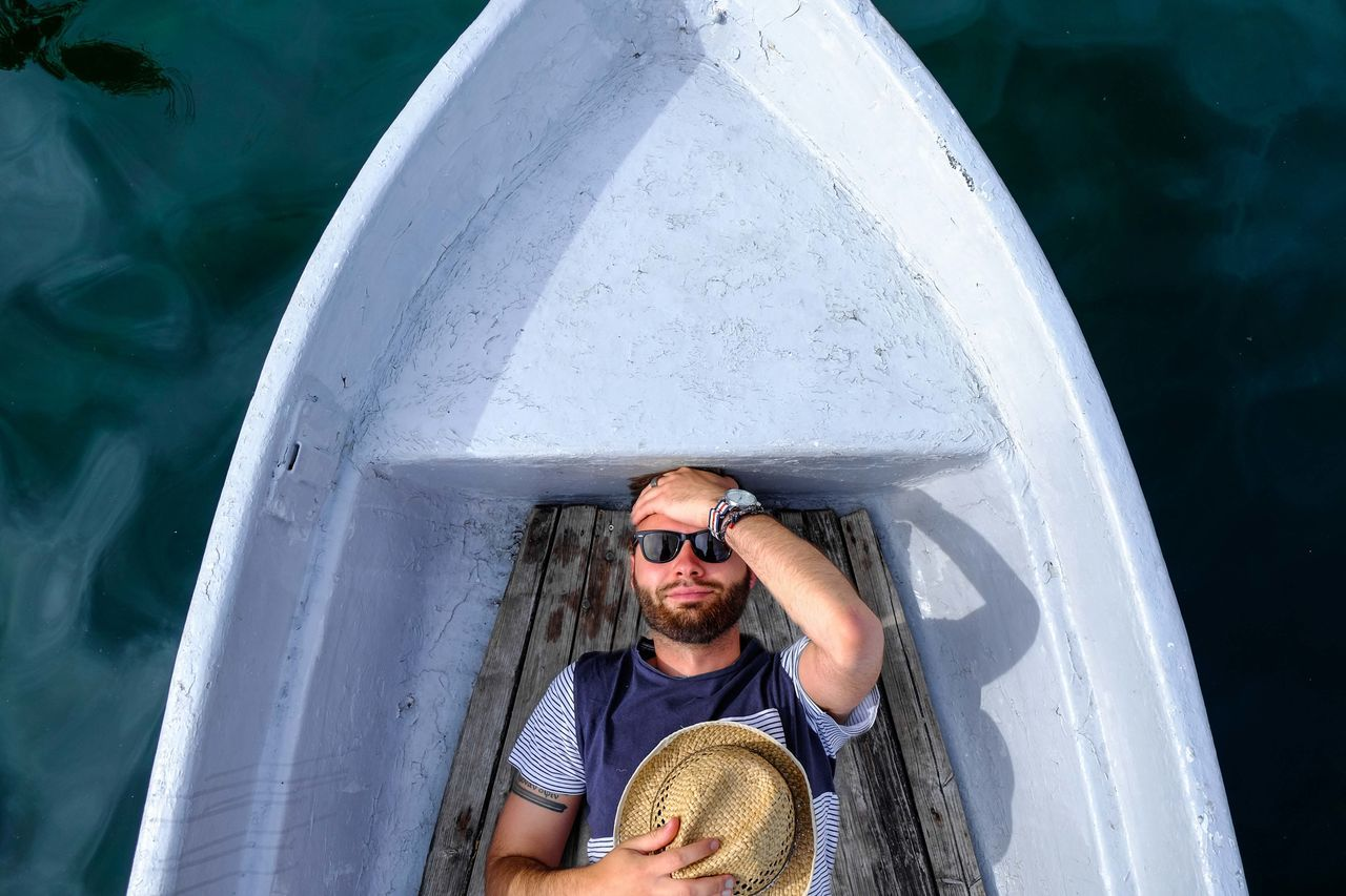 Beautiful stock photos of portrait, 25-29 Years, Boat, Casual Clothing, Day