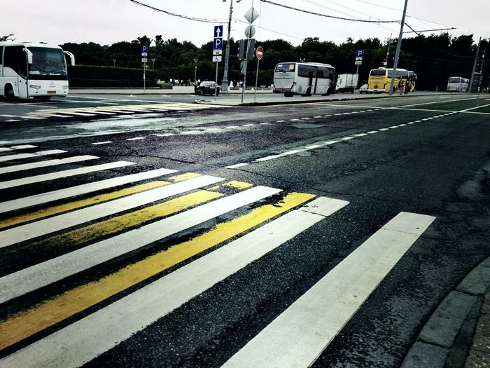 Road Moscow City Road Marking Striped Zebra Crossing Road Safety Asphalt Street City Street Transportation Guidance Road Sign Outdoors City Life City Day No People First Eyeem Photo Moscow Iloveyou EyeEm Selects Taking Photos