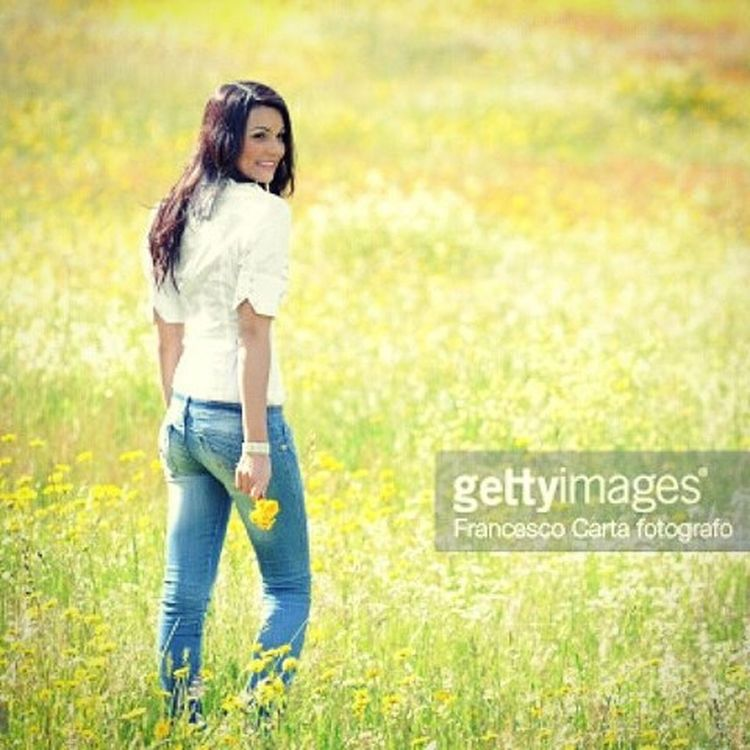 Springtime Nikon Gettyimages Beauty Beautyful  Woman Spring Springtime Flowers Lifestyle Sardinia Female Backlight Longhair Location Fashion Yellow Jeans Walking 180mm F .2.8